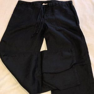 2 LONDON JEAN BLACK LINEN PANTS-VICTORIAS SECRET